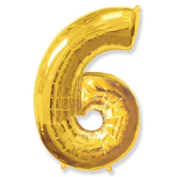 Фольгированный шар форме золотой цифры шесть. Размер 1 метр.