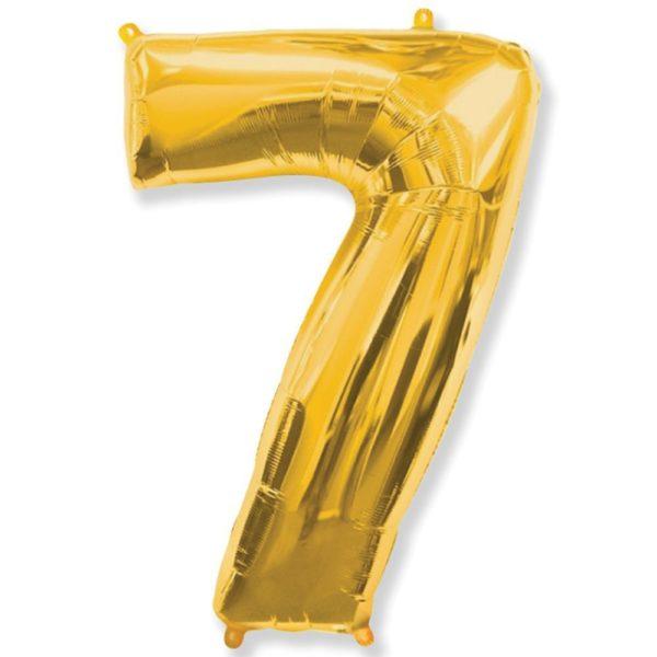 Фольгированный шар форме золотой цифры семь. Размер 1 метр.