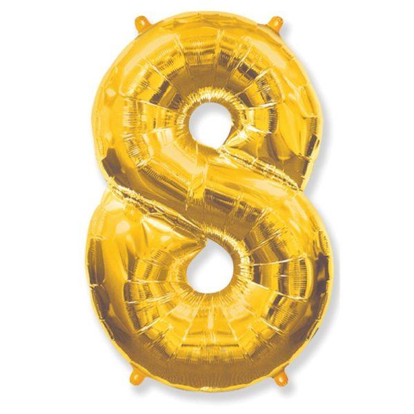 Фольгированный шар форме золотой цифры восемь. Размер 1 метр.