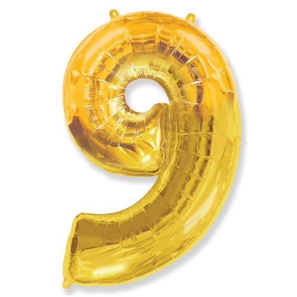 Фольгированный шар форме золотой цифры девять. Размер 1 метр.
