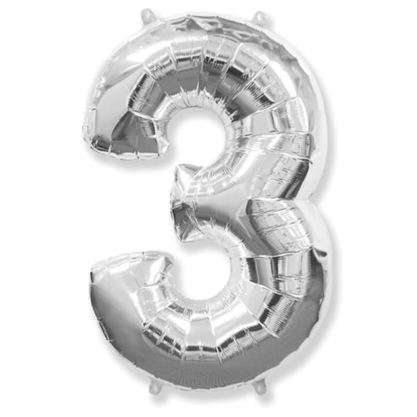 Фольгированный шар в форме серебреной цифры три. Размер 1 метр.
