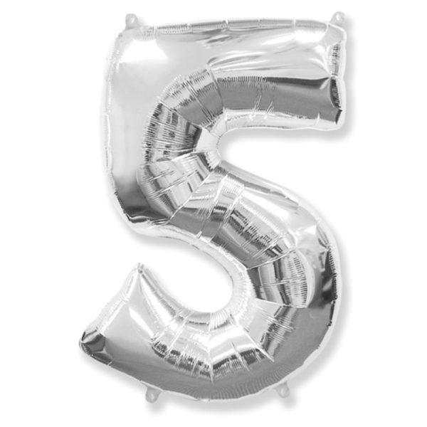 Фольгированный шар в форме серебреной цифры пять. Размер 1 метр.