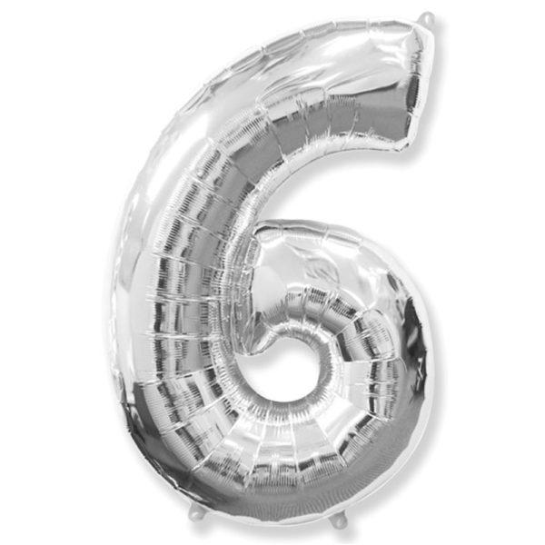 Фольгированный шар в форме серебреной цифры шесть. Размер 1 метр.