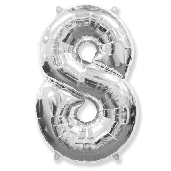 Фольгированный шар в форме серебреной цифры восемь. Размер 1 метр.