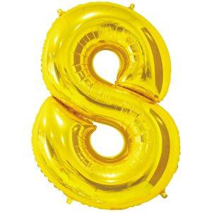 Фольгированный шар в форме цифры восемь золотистого цвета. Размер - 66 см.