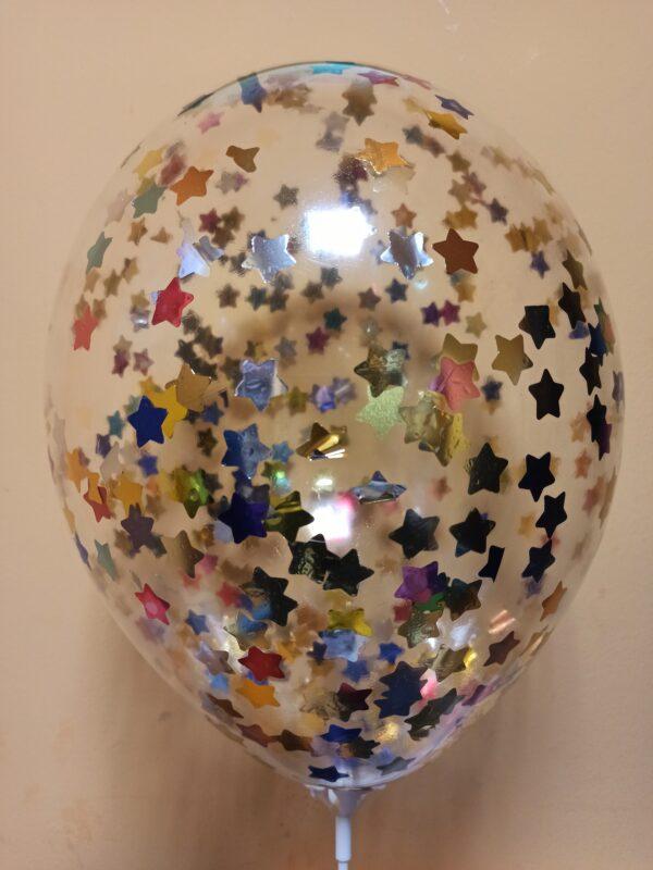 Прозрачный шарик с цветными звездами