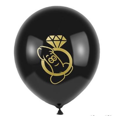 Воздушные шарики с рисунком пениса и колечка