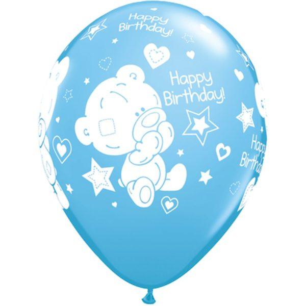 Голубые латексные шарики с рисунком Мишки Happy birthday. Размер 28 см.