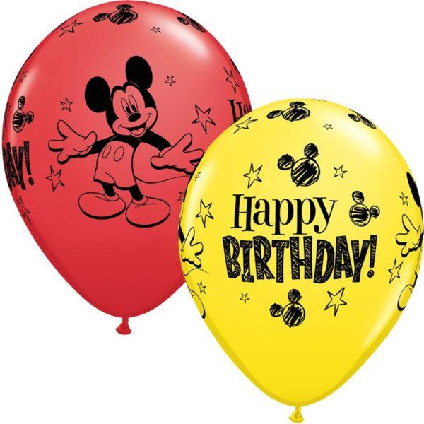 латексные шарики с рисунком Микки мауса С днем рождения
