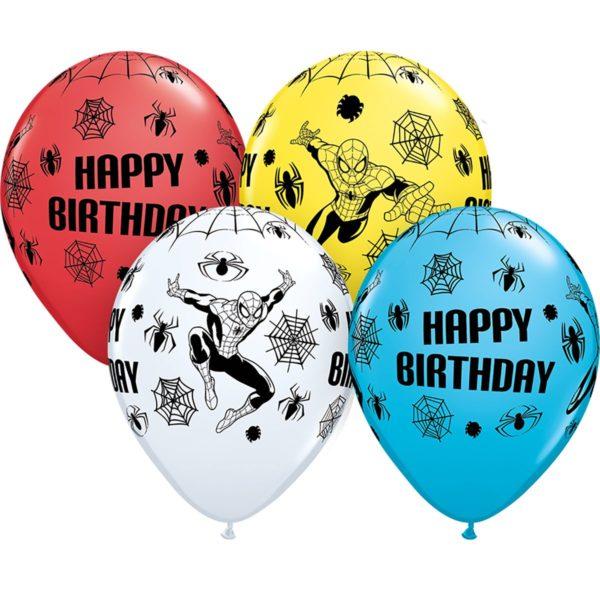 Латексные шарики с рисунком Happy birthday человек паук.
