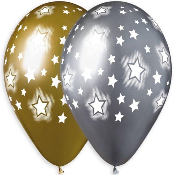 Латексные шарики с рисунком Хромированные звезды