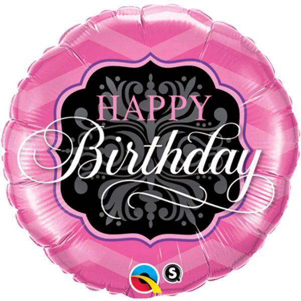 Фольгированный шарик с Днем рождения черно-розовый круг. Размер 45 см.