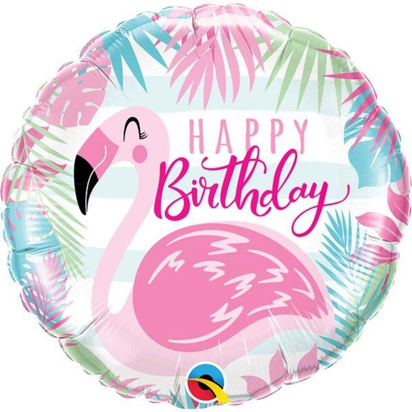 Фольгированный шарик с Днем рождения Фламинго. Размер 45 см.