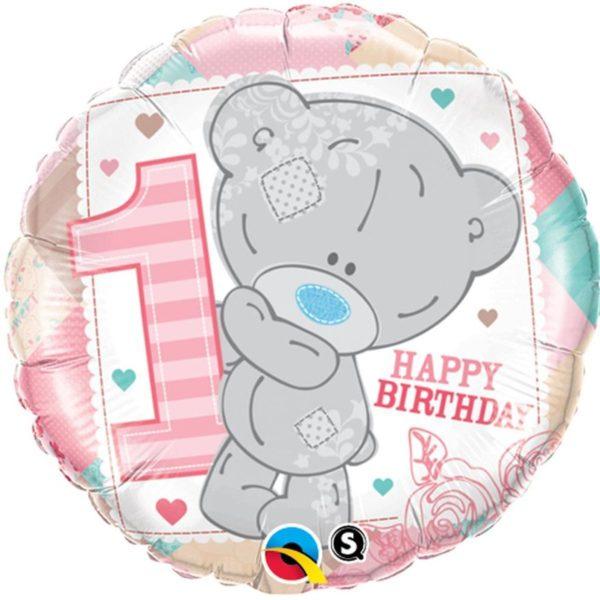 Фольгированный шарик с Днем рождения Мишка на годик. Размер 45 см.