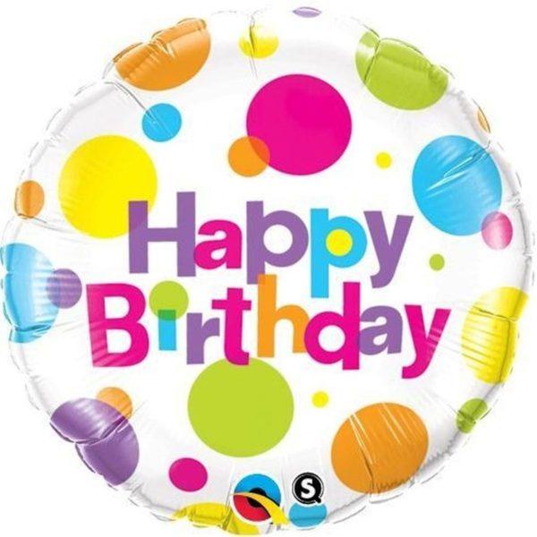 Фольгированный шарик с Днем рождения, цветной горошек. Размер 45 см.