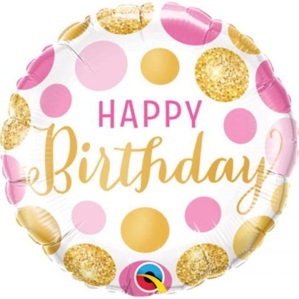 Фольгированный шарик с Днем рождения, розово-золотой горошек. Размер 45 см.
