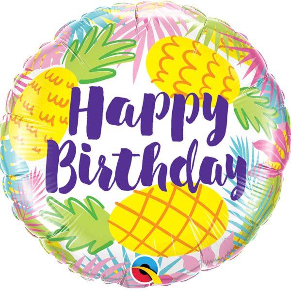 Фольгированный шарик с Днем рождения, ананасы. Размер 45 см.