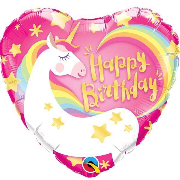 Фольгированный шарик с Днем рождения, Единорог сердце. Размер 45 см.