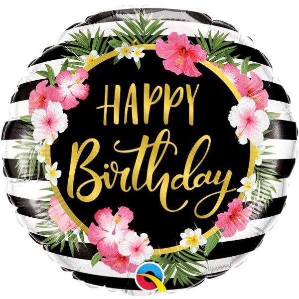 Фольгированный шарик с Днем рождения, веночек из цветов. Размер 45 см.
