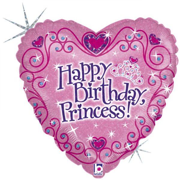 Фольгированный шарик с Днем рождения, принцесса. Размер 45 см.