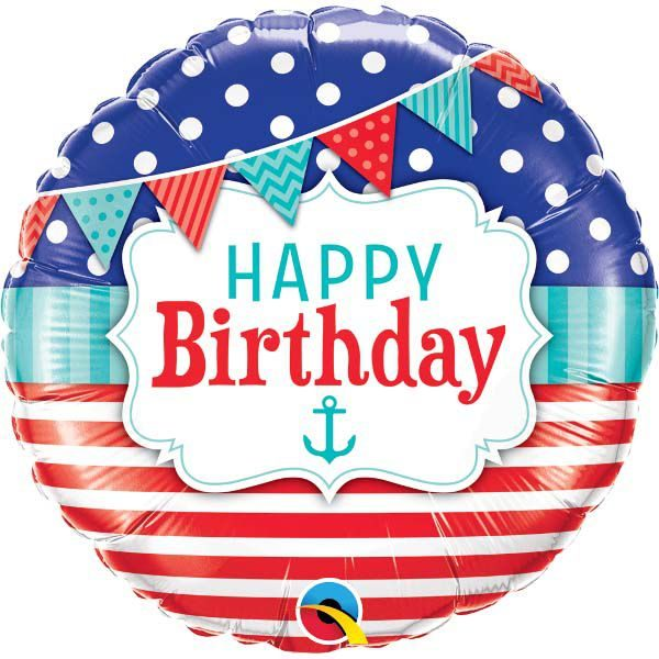 Фольгированный шарик с Днем рождения, морской. Размер 45 см.
