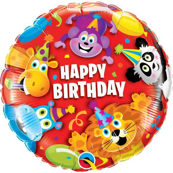 Фольгированный шарик с Днем рождения, звери. Размер 45 см.