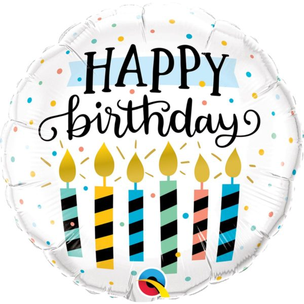 Фольгированный шарик с Днем рождения, свечки. Размер 45 см.
