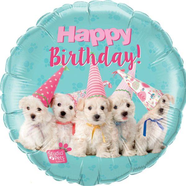 Фольгированный шарик с Днем рождения, щенята. Размер 45 см.