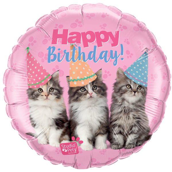 Фольгированный шарик с Днем рождения, котята. Размер 45 см.