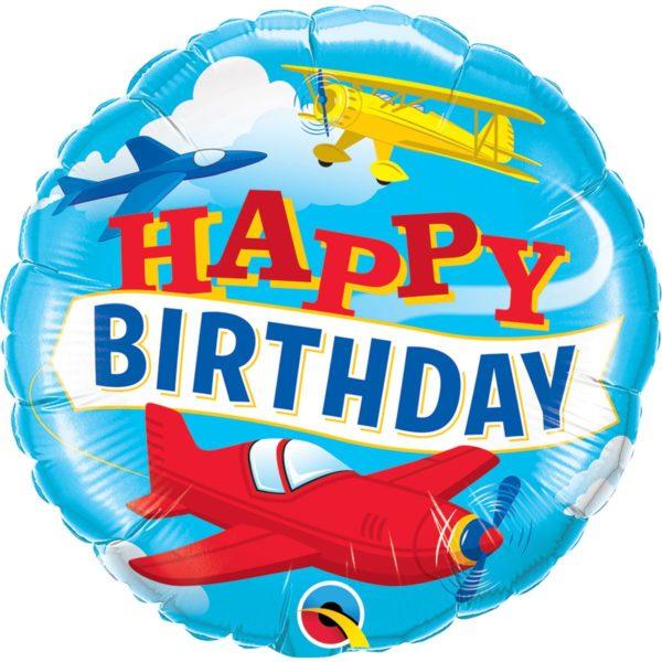 Фольгированный шарик с Днем рождения, самолетики. Размер 45 см.