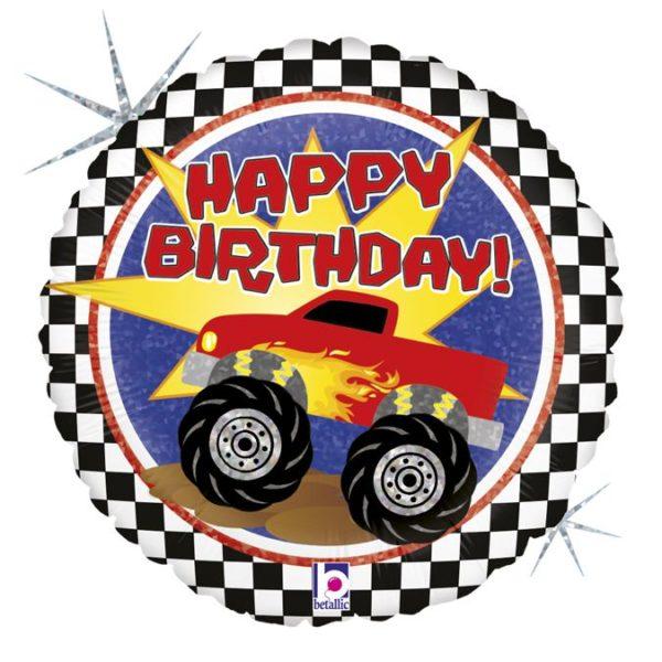 Фольгированный шарик с Днем рождения, машина монстр. Размер 45 см.