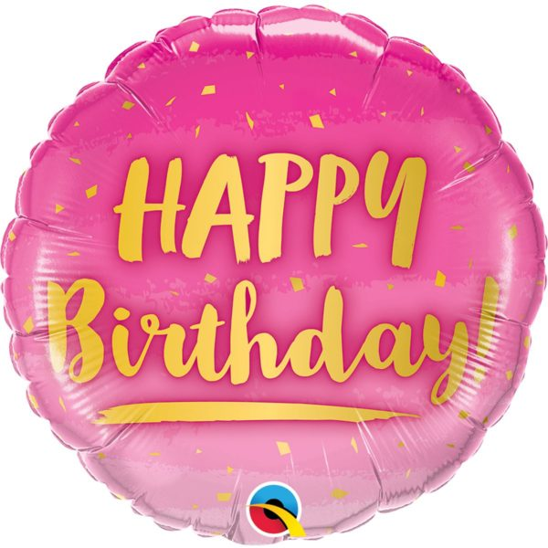Фольгированный шарик с Днем рождения, розово-золотой. Размер 45 см.