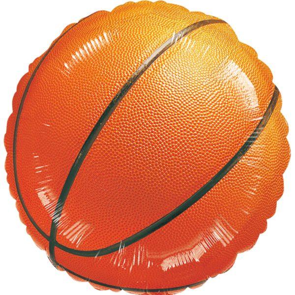 Фольгированный шарик с рисунком баскетбольный мяч. Размер 45 см.