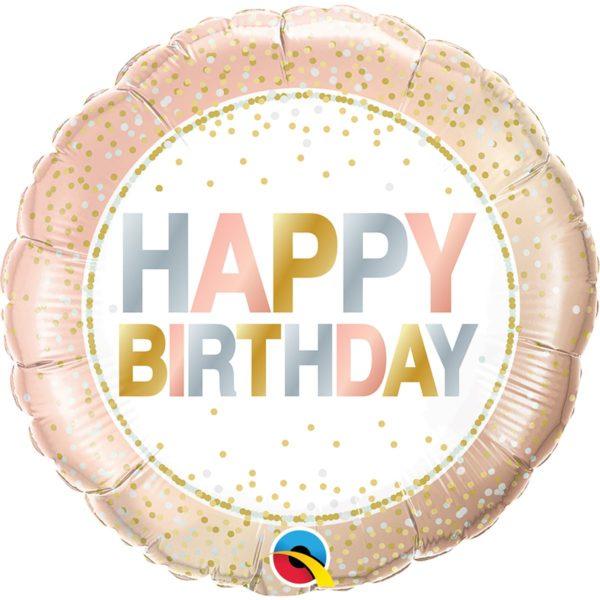 Фольгированный шарик с Днем рождения, нежный горошек Размер 45 см.