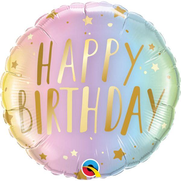 Фольгированный шарик с Днем рождения, омбре звезды . Размер 45 см.