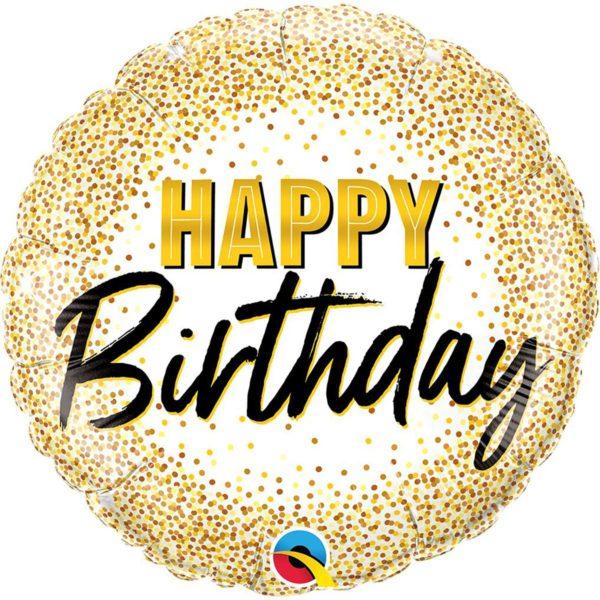 Фольгированный шарик с Днем рождения, конфетти из золота. Размер 45 см.