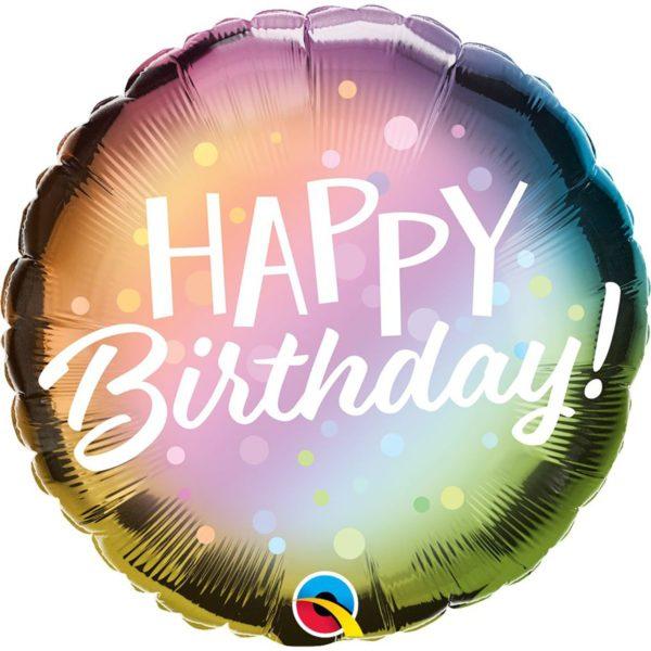 Фольгированный шарик с Днем рождения, омбре пузыри. Размер 45 см.