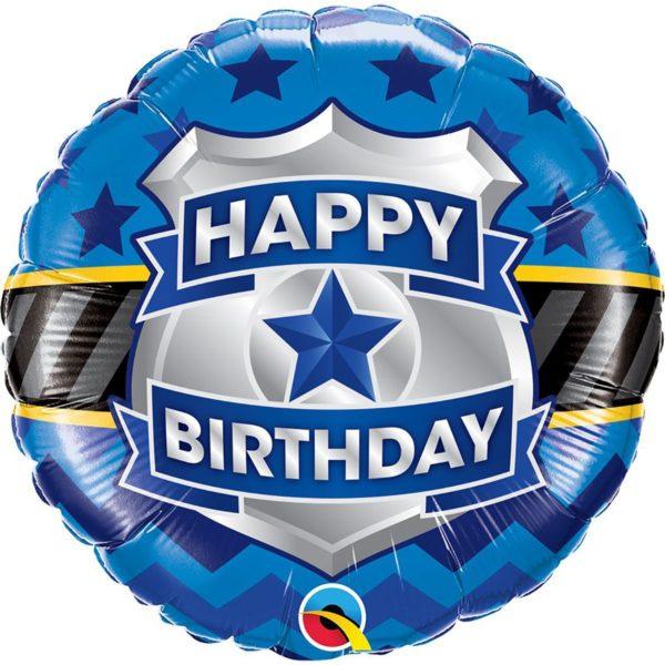 Фольгированный шарик с Днем рождения, жетон полицейского. Размер 45 см.