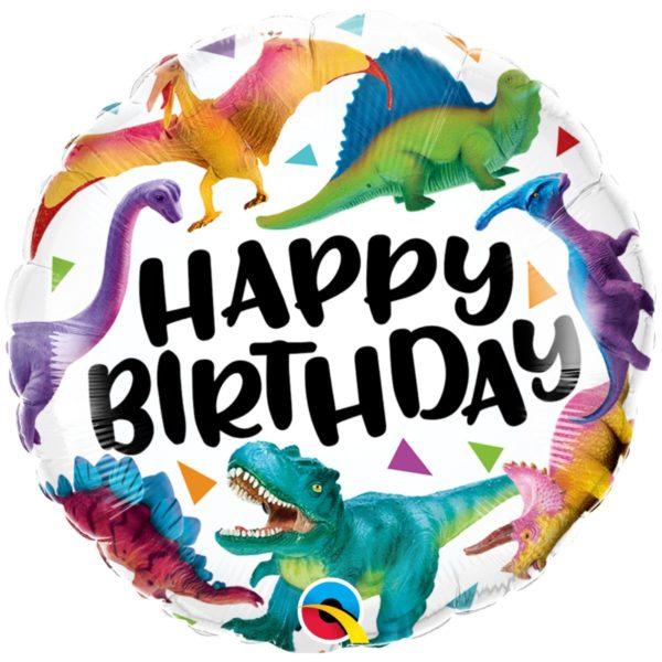 Фольгированный шарик с Днем рождения, динозаврики. Размер 45 см.