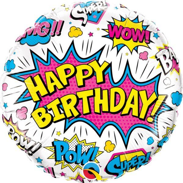 Фольгированный шарик с Днем рождения, супер герой белый круг. Размер 45 см.