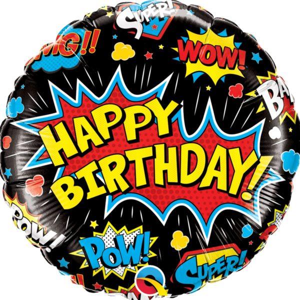 Фольгированный шарик с Днем рождения, супер герой черный круг. Размер 45 см.