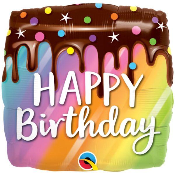 Фольгированный шарик с Днем рождения, тортик. Размер 45 см.