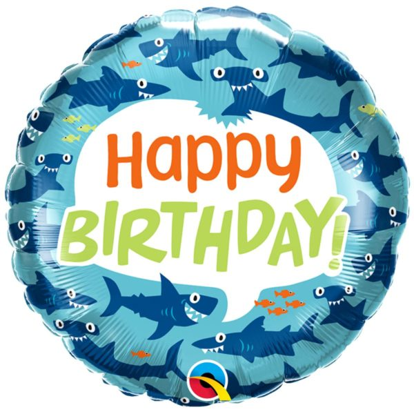 Фольгированный шарик с Днем рождения, акулы. Размер 45 см.