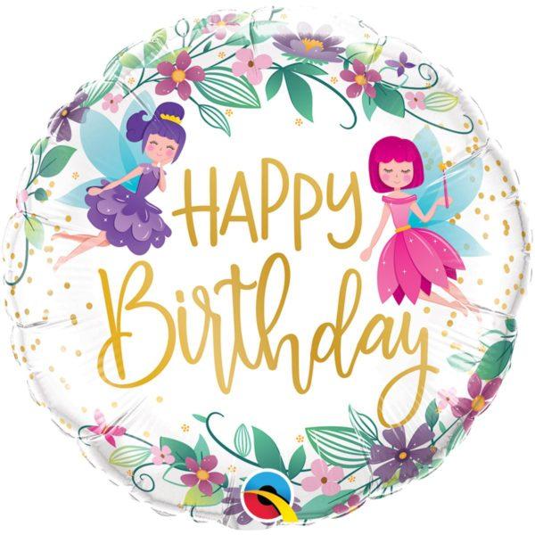 Фольгированный шарик с Днем рождения, цветочные феи. Размер 45 см.