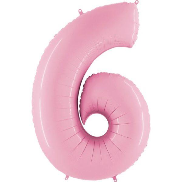 Фольгированный шар в форме цифры шесть розовый. Размер 1 метр.