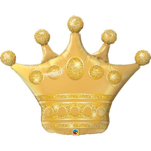 Фольгированный шар фигура золотая корона. Размер 89х74 см