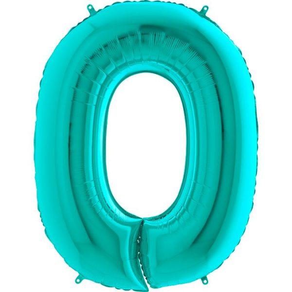 Фольгированный шар тиффани в форме цифры ноль. Размер 1 метр.