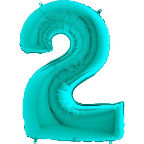Фольгированный шар тиффани в форме цифры два. Размер 1 метр.