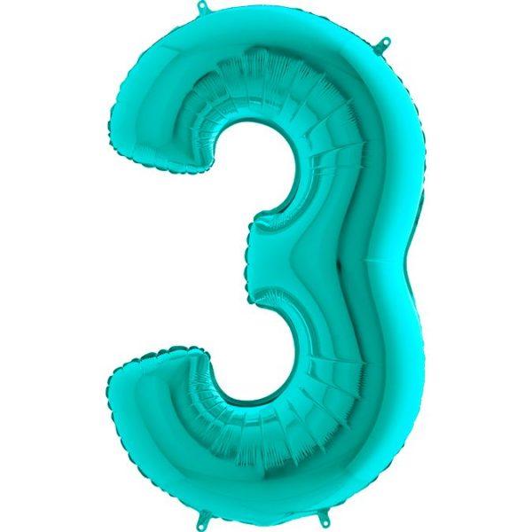 Фольгированный шар тиффани в форме цифры три. Размер 1 метр.