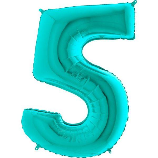 Фольгированный шар тиффани в форме цифры пять. Размер 1 метр.